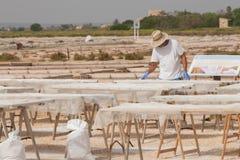 Arbetare på saltern Arkivbilder