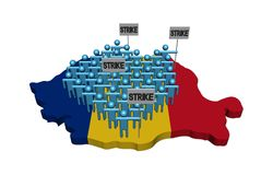 Arbetare på slag på den Rumänien översikten sjunker illustrationen royaltyfri illustrationer