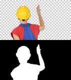 Arbetare samlar kvinnaarbetaren som gör expresive gester som levererar anförande, Alpha Channel royaltyfri fotografi