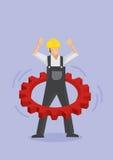 Arbetare som använder kugghjulet som det Hula beslaget royaltyfri illustrationer