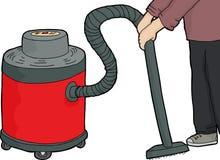 Arbetare som använder Våt-torrt vakuum vektor illustrationer