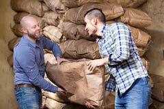 Arbetare som bär påsar av cement Arkivbilder