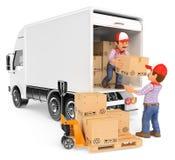 arbetare som 3D lastar av askar från en lastbil vektor illustrationer