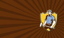Arbetare som hanterar det Retro släggavapnet royaltyfri illustrationer