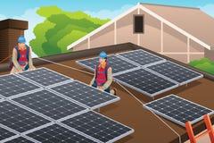 Arbetare som installerar solpaneler på taket stock illustrationer