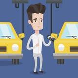 Arbetare som kontrollerar den automatiserade monteringsbandet för bil stock illustrationer