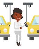 Arbetare som kontrollerar den automatiserade monteringsbandet för bil royaltyfri illustrationer