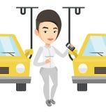 Arbetare som kontrollerar den automatiserade monteringsbandet för bil vektor illustrationer