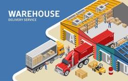 Arbetare som laddar lastbilar nära lager stock illustrationer