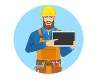 Arbetare som pekar på den digitala minnestavlaPC:N vektor illustrationer