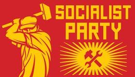 Arbetare som rymmer en hammare - politiskt partiaffisch Arkivbilder