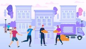 Arbetare som rymmer tegelstenar på stadsbyggnadsbakgrund royaltyfri illustrationer