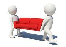 Arbetare som två bär den röda soffan isolerat royaltyfri illustrationer