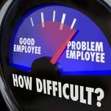 Arbetare svåra Person Gauge för nivå för problemanställd bra stock illustrationer