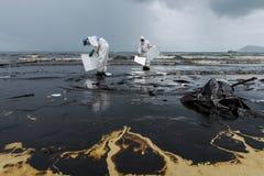 Arbetare tar bort och gör ren upp spilld råolja med absorberande välling Arkivbild