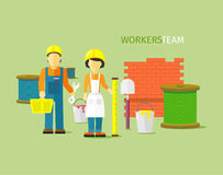 Arbetare Team People Group Flat Style royaltyfri illustrationer