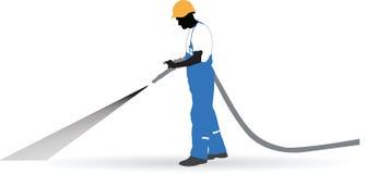 Arbetaren besprutade en slang under tryck stock illustrationer