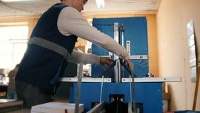 Arbetaren i printingproduktion är förlovad i printing stock video