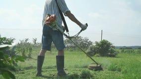 Arbetaren klipper gräset med gräsmattaradbeskäraren lager videofilmer