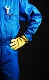 Arbetaren med rycker häftig i hans fick- Royaltyfri Fotografi