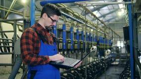 Arbetaren ser maskiner i en mjölka lätthet som skriver på en bärbar dator lager videofilmer