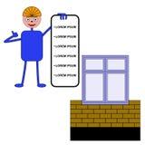 Arbetaren visar en lista av service för konstruktionen av en hem- nolla Royaltyfri Fotografi