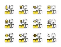 Arbetarman med uppsättningen för bärbar datoröversiktssymbol Online-marknadsföring, shopp stock illustrationer