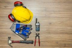 Arbetarsäkerhetsutrustning Fotografering för Bildbyråer