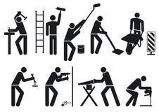 Arbetarset stock illustrationer