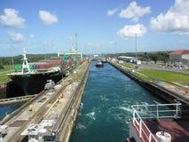 Arbete av den Panama kanalen arkivfoton