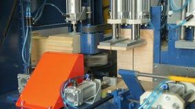 Arbete av snickerimaskinen på snickeriföretaget lager videofilmer