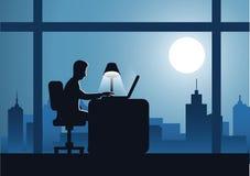 Arbete för affärsman på övertid hårt med bärbara datorn som avslutar hans arbete stock illustrationer