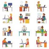 Arbete för arbetare eller för person för affär för vektor för folkarbetsställe royaltyfri illustrationer