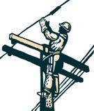 arbete för elektricitetslinjearbetareström stock illustrationer