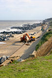 Arbete för havsförsvar på ostkusten av England Royaltyfri Foto