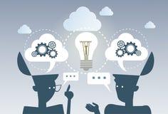 Arbete för hjulet för kuggen för idén för affärsidékläckningprocessen projekterar nytt tillsammans strategibegrepp stock illustrationer