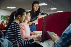Arbete för klassrumdator Royaltyfria Bilder