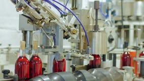 Arbete i vinodlingen Vinet buteljeras Därefter på transportbandflyttningarna och stänger korkar Kapslar på flaskorna lager videofilmer