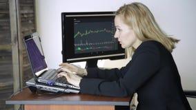 Arbete på en börs Hållande ögonen på ändringar för affärskvinna i diagrammet för valutautbyte stock video