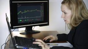 Arbete på en börs Hållande ögonen på ändringar för affärskvinna i diagrammet för valutautbyte arkivfilmer