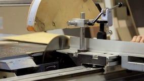 Arbete på produktion med naturligt material Förlagen arbetar med den bitande disketten Arbetaren inkluderar hjälpmedlet och komme lager videofilmer