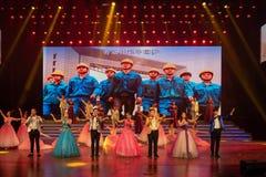 Arbete som lyfter den kinesiska dröm-Folk sången Fotografering för Bildbyråer