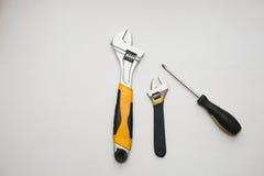 Arbete tools skiftnyckeln Royaltyfri Foto