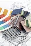 arbeten för palett för färgdesigner inre Fotografering för Bildbyråer