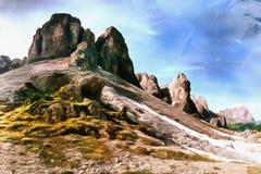 Arbetena i stilen av vattenfärgmålning Rocky Mountains a royaltyfria foton