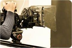 Arbetet av en videokamera i studion arkivbild