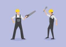 Arbets- arbetare med illustrationen för hjälpmedelvektortecknad film vektor illustrationer