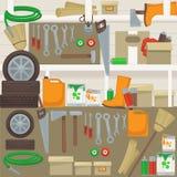 Arbetshjälpmedel på väggen i garage Royaltyfria Foton