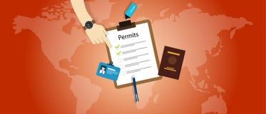 Arbetsloppet tillåter invandring för passapplikation vektor illustrationer