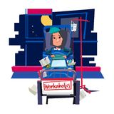 Arbetsnarkomanflicka upptaget flickaarbete på säng och att få sjukt - vektor vektor illustrationer